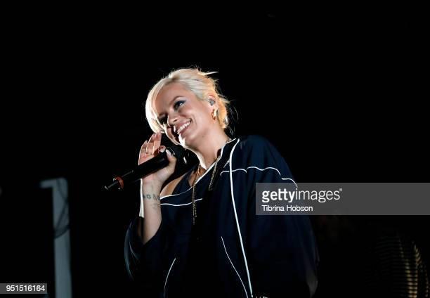 Lily Allen performs at El Rey Theatre on April 25 2018 in Los Angeles California