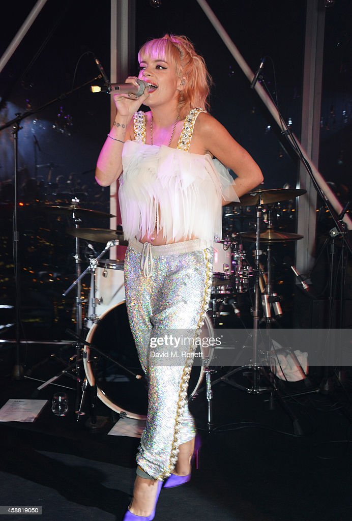 Lily Allen performs at Sushisamba's second anniversary celebration with a performance by Lily Allen at VIP at Sushi Samba on November 11, 2014 in London, England.