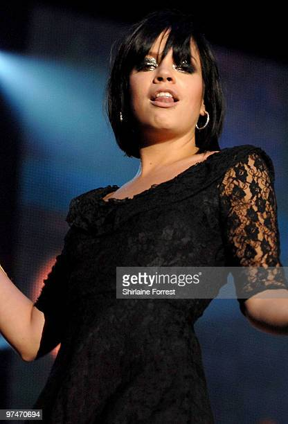 Lily Allen performs at the MEN Arena on March 5 2010 in Manchester England