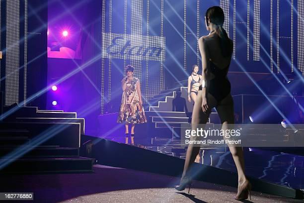 Lily Allen performs during the Etam Live Show Lingerie at Bourse du Commerce on February 26 2013 in Paris France
