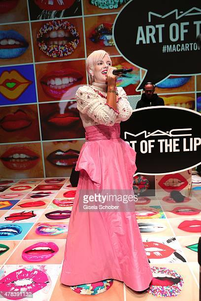 Lily Allen performs during the presentation of 'Art of the Lip' by MAC Cosmetics at Haus der Kunst on June 24 2015 in Munich Germany