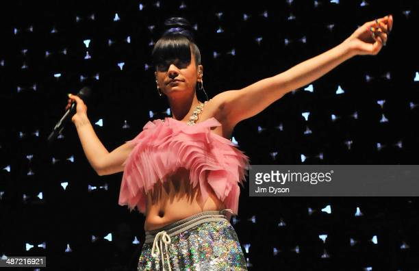 Lily Allen performs live on stage during the launch for her new album 'Sheezus' at Shepherds Bush Empire on April 28 2014 in London United Kingdom