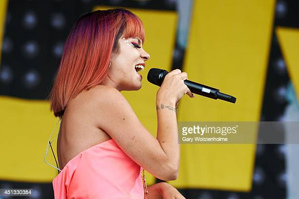 Lily Allen performs on Day 1 of the Glastonbury Festival at Worthy Farm on June 27 2014 in Glastonbury England