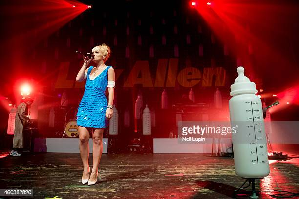Lily Allen performs on stage at Brixton Academy on December 12 2014 in London United Kingdom