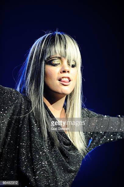 Lily Allen performs on stage at Brixton Academy on November 27 2009 in London England