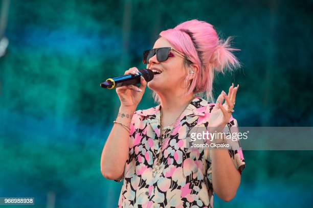 Lily Allen performs on stage at Mighty Hoopla festival at Brockwell Park on June 3 2018 in London England