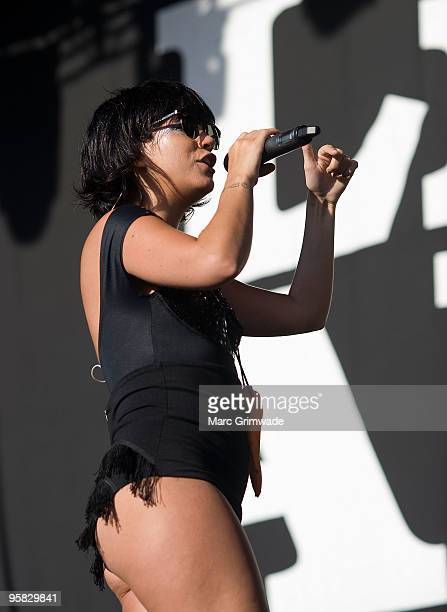 Lily Allen performs on stage at the Gold Coast leg of the Big Day Out 2010 music festival at Parklands Showgrounds on January 17 2010 in Brisbane...
