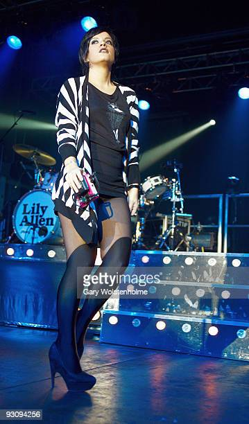 Lily Allen performs on stage at the O2 Academy on November 16 2009 in Sheffield England