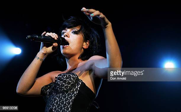 Lily Allen performs on stage in concert at the Hordern Pavilion on January 21 2010 in Sydney Australia