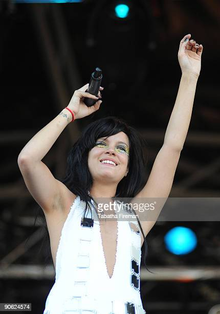 Lily Allen performs on the main stage on the second day of Bestival at Robin Hill Country Park on September 12 2009 in Newport Isle of Wight