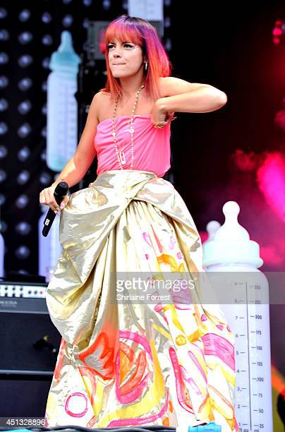 Lily Allen performs on The Pyramid Stage on Day 1 of the Glastonbury Festival at Worthy Farm on June 27 2014 in Glastonbury England