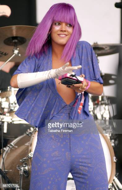 Lily Allen performs on the Pyramid stage on day 2 of Glastonbury Festival at Worthy Farm on June 26, 2009 in Glastonbury, England.