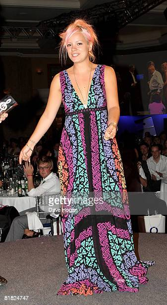 Lily Allen presents the Icon Award on stage at The O2 Silver Clef Awards Luncheon in aid of NordoffRobbins Music Therapy at The Hilton Park Lane on...