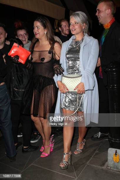 Lily Allen seen attending LOVE Magazine party at No 5 Hertford Street during London Fashion Week September 2018 on September 17 2018 in London England