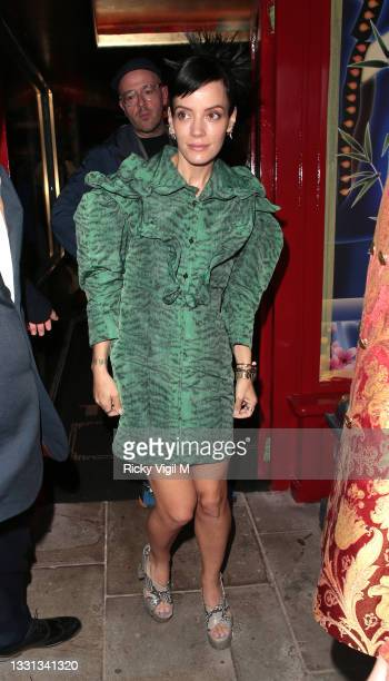 Lily Allen seen attending The Ivy Asia - restaurant launch party in Chelsea on July 29, 2021 in London, England.