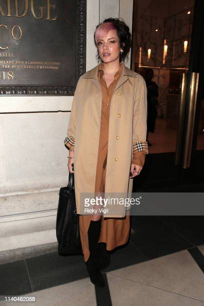 Lily Allen seen attending the Pat McGrath 'A Technicolour Odyssey' Campaign launch party at Brasserie of Light Selfridges on April 04 2019 in London...