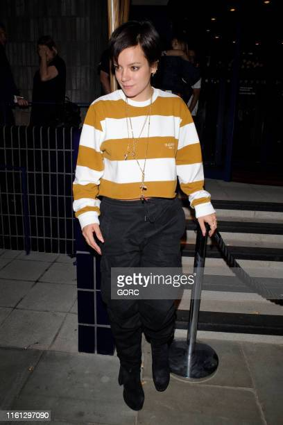 Lily Allen seen leaving a summer party held at the Standard hotel on July 10 2019 in London England
