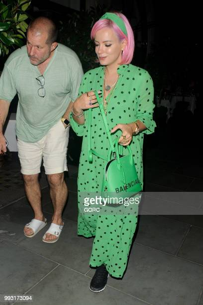 Lily Allen seen with chief designer for Apple Sir Jonathan Ive after dining at Scotts restaurant Mayfair on July 6 2018 in London England