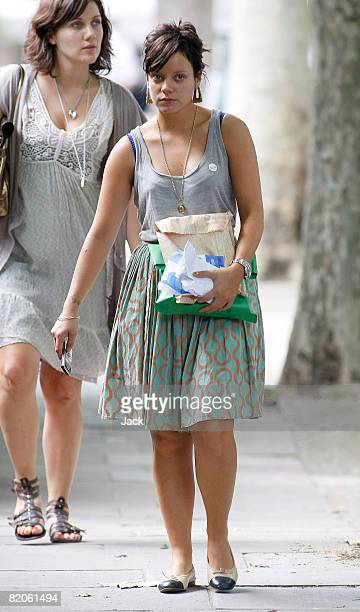 Lily Allen sighted walking in Queens Park on July 25 2008 in London England