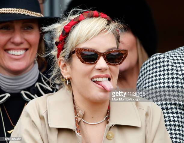 Lily Allen watches the racing as she attends day 4 'Gold Cup Day' of the Cheltenham Festival at Cheltenham Racecourse on March 15 2019 in Cheltenham...