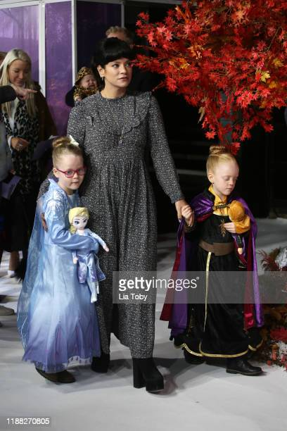 Lily Allen with daughters Marnie Rose and Ethel attends the Frozen 2 European premiere at BFI Southbank on November 17 2019 in London England