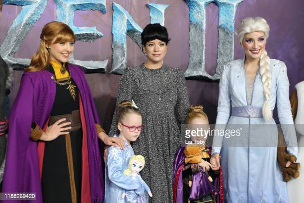 Lily Allen with her daughters Ethel Cooper and Marnie Rose Cooper attend the Frozen 2 European premiere at BFI Southbank on November 17 2019 in...