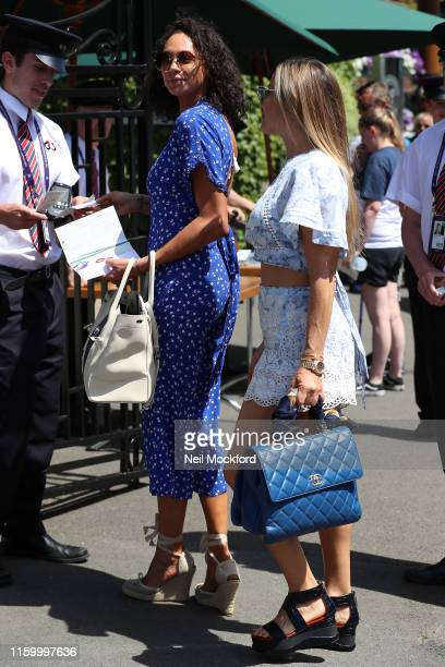 Lily Becker and Elen Rives attend day 4 of the Wimbledon 2019 Tennis Championships at All England Lawn Tennis and Croquet Club on July 04 2019 in...