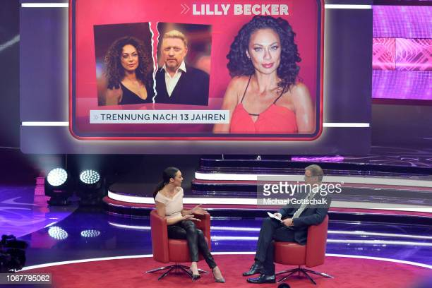 Lily Becker and Günther Jauch speak on stage during the tv show '2018 Menschen Bilder Emotionen' on December 3 2017 in Cologne Germany