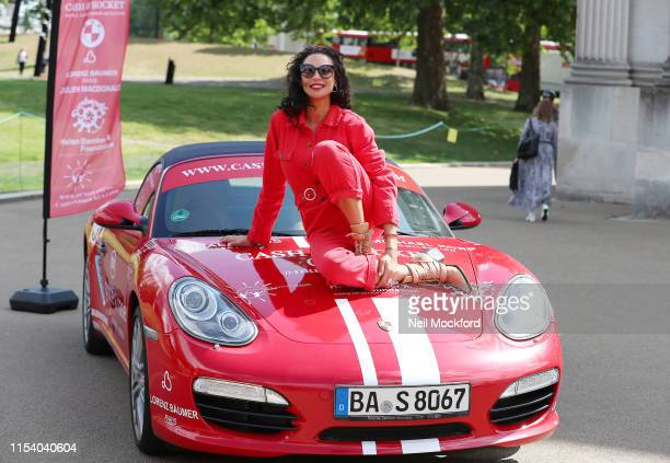 Lily Becker takes part in a photocall at the launch of the Cash Rocket Charity Tour at Wellington Arch on June 06 2019 in London England