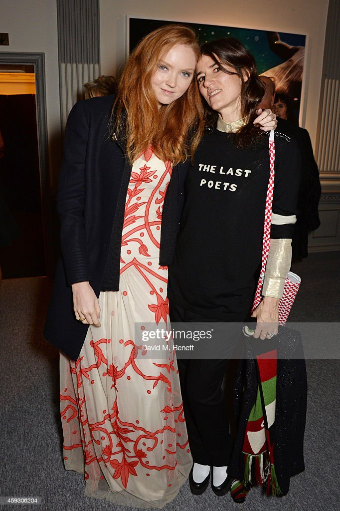 Lily Cole (L) and Bella Freud attend the book launch and private view of 'Mary McCartney: Monochrome And Colour' curated by De Pury De Pury on November 20, 2014 in London, England.