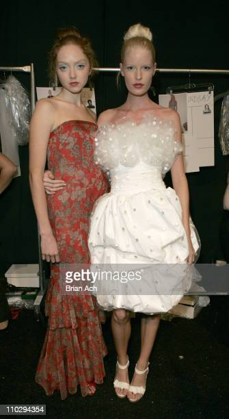 Lily Cole and Caroline Winberg backstage wearing Tuleh Spring 2007