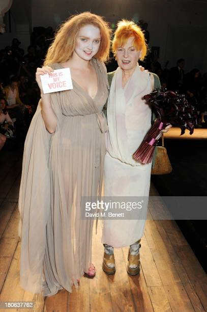 Lily Cole and Dame Vivienne Westwood attend the Vivienne Westwood Red Label show during London Fashion Week SS14 on September 15 2013 in London...
