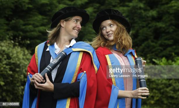 Lily Cole and Olympian Katherine Grainger receive honorary degrees from Caledonian University during a photocall at the Clyde Auditorium in Glasgow,...