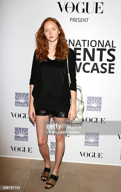 Lily Cole at the International Design Showcase during the Vogue Fashion Dubai Experience on October 31 2014 in Dubai United Arab Emirates