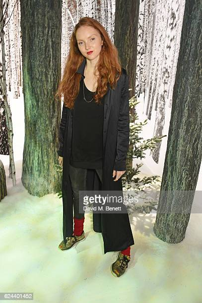Lily Cole attends Claridge's Christmas Tree 2016 Party with tree designed by Sir Jony Ive and Marc Newson at Claridge's Hotel on November 19 2016 in...