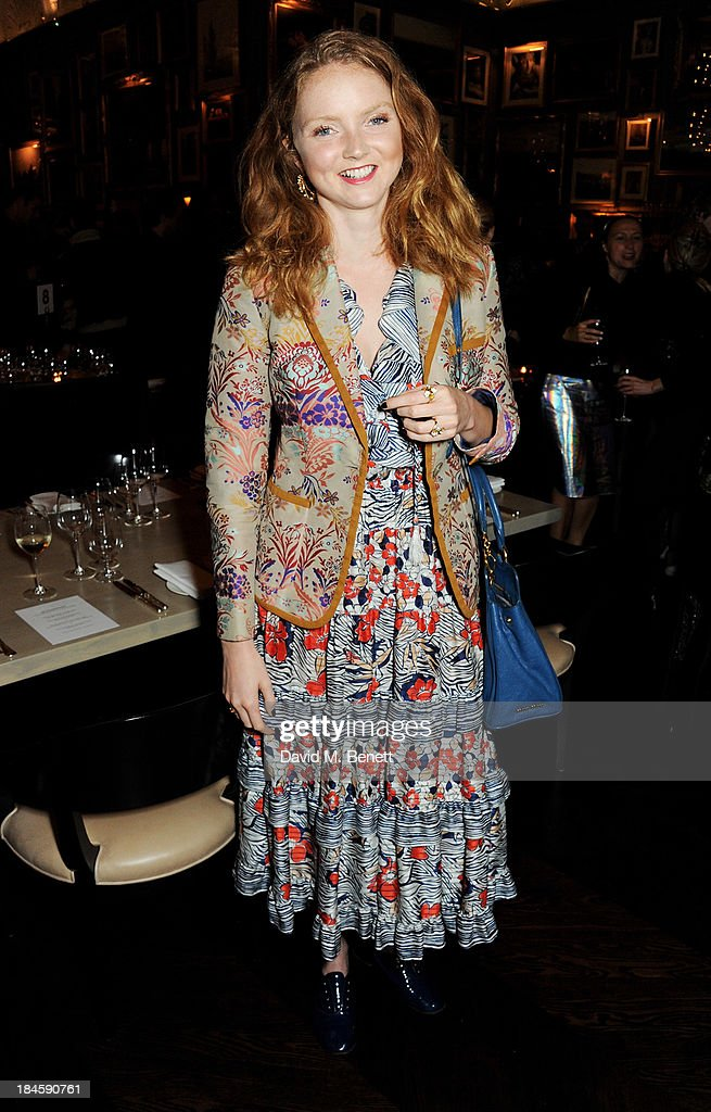 Lily Cole attends the London EDITION and NOWNESS dinner to celebrate ON COLLABORATION on October 14, 2013 in London, England.