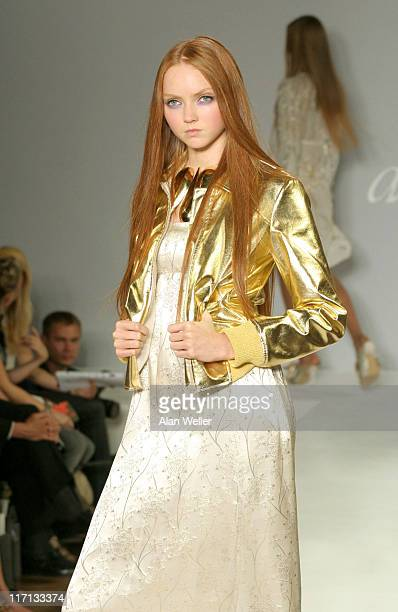 Lily Cole during London Fashion Week Spring/Summer 2007 Allegra Hicks Runway and Backstage at On/Off Royal Horticultural Hall in London Great Britain