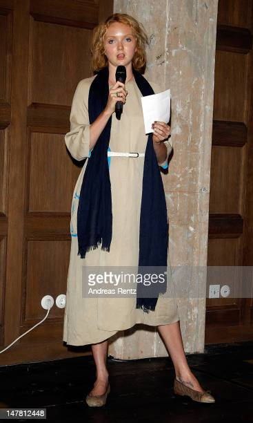 Lily cole gives a reading at Liberatum Berlin hosted by Grey Goose vodka at Soho House Apartments Berlin The two day summit brings together cultural...