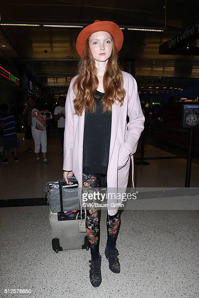 Lily Cole is seen at LAX on February 26 2016 in Los Angeles California