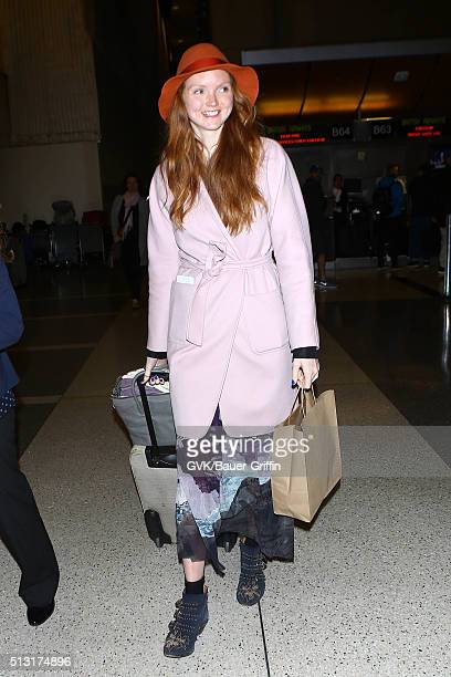 Lily Cole is seen at LAX on February 29 2016 in Los Angeles California