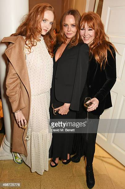 Lily Cole Stella McCartney and Charlotte Tilbury attend the Stella McCartney Christmas Lights switch on at the Stella McCartney Bruton Street Store...