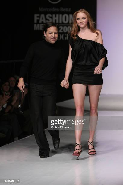 Lily Cole walks down the catwalk during the Alvin Valley Spring/Summer 2008 show at Antara Polanco during Mercedes Benz Fashion Mexico 2008 on...