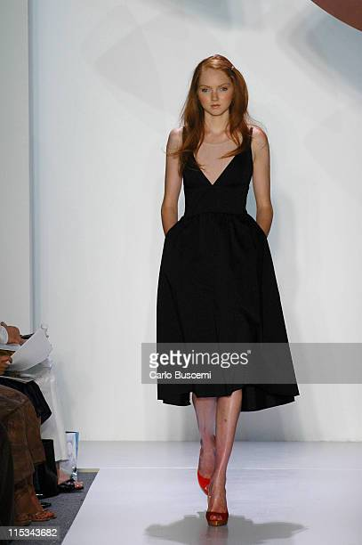 Lily Cole wearing Chaiken Spring 2006 during Olympus Fashion Week Spring 2006 Chaiken Runway at Bryant Park in New York City New York United States