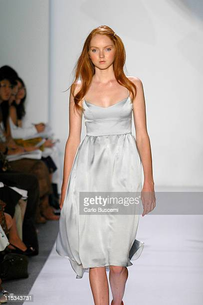 Lily Cole wearing Chaiken Spring 2006 during Olympus Fashion Week Spring 2006 - Chaiken - Runway at Bryant Park in New York City, New York, United...