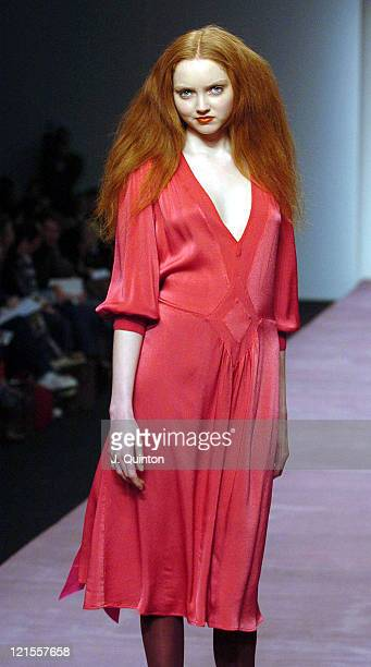 Lily Cole wearing Ghost Autumn/Winter 2005 during London Fashion Week Autumn/Winter 2005 - Ghost - Backstage and Runway at BFC Tent in London, Great...