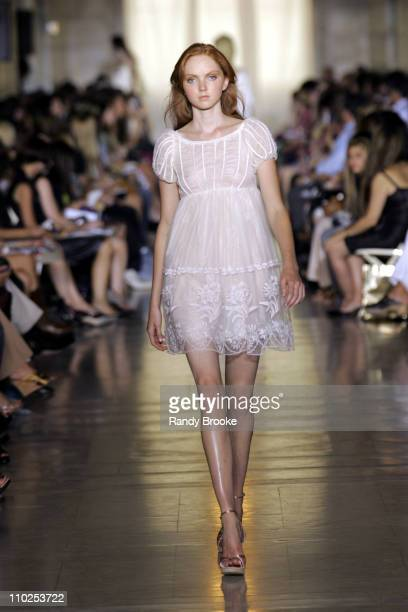 Lily Cole wearing Jill Stuart Spring 2006 during Olympus Fashion Week Spring 2006 - Jill Stuart - Runway at Astor Hall in New York City, New York,...