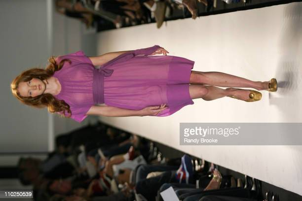 Lily Cole wearing Kenneth Cole Spring 2006 during Olympus Fashion Week Spring 2006 - Kenneth Cole - Runway at Bryant Park in New York City, New York,...