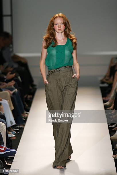 Lily Cole wearing Kenneth Cole Spring 2006 during Olympus Fashion Week Spring 2006 Kenneth Cole Runway at Bryant Park in New York City New York...