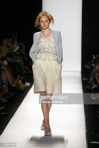 Lily Cole wearing Luca Luca Spring 2006 during Olympus Fashion Week Spring 2006 - Luca Luca - Runway at Bryant Park in New York City, New York,...