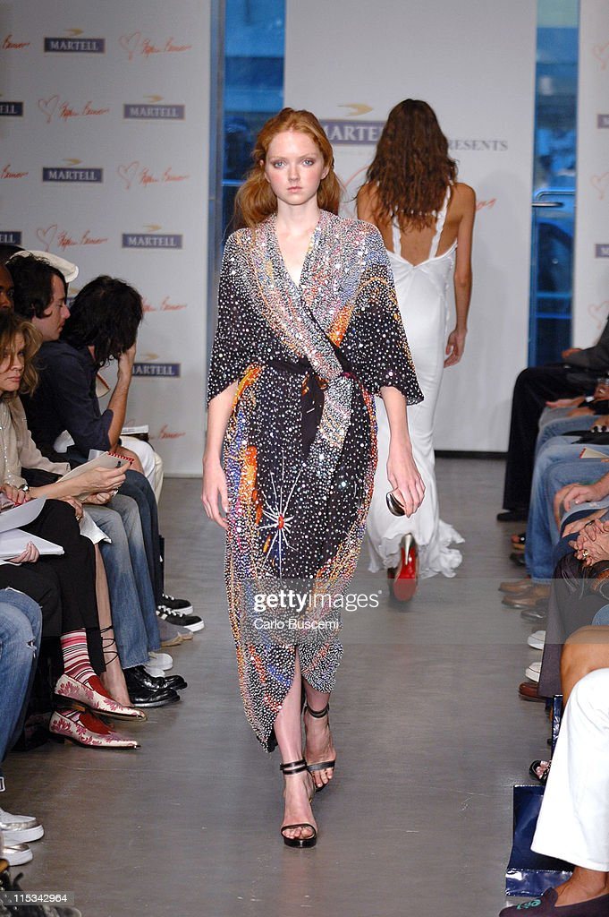 Lily Cole wearing Stephen Burrows Spring 2006 during Olympus Fashion Week Spring 2006 - Stephen Burrows - Runway at Robert Miller Gallery in New York City, New York, United States.